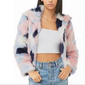 Forever 21 Colorblock Faux Fur Coat Blue/pink